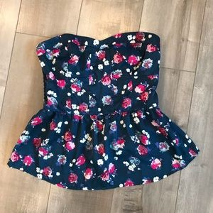 American Eagle Floral Strapless Peplum Bustier